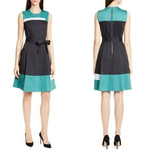 Hugo Boss dadesa colorblock cotton belted dress